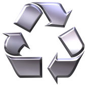 3d silver recycling symbol for metals — Stock Photo