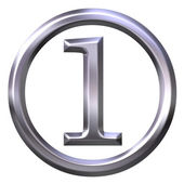 3D Silver Number 1 — Stock Photo