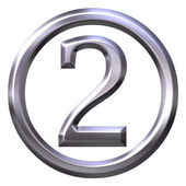 3D Silver Number 2 — Stock Photo