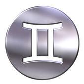 3d-zilveren gemini — Stockfoto