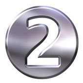 3D Silver Framed Number 2 — Stock Photo