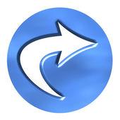 3D Azure Arrow Button — Stock Photo