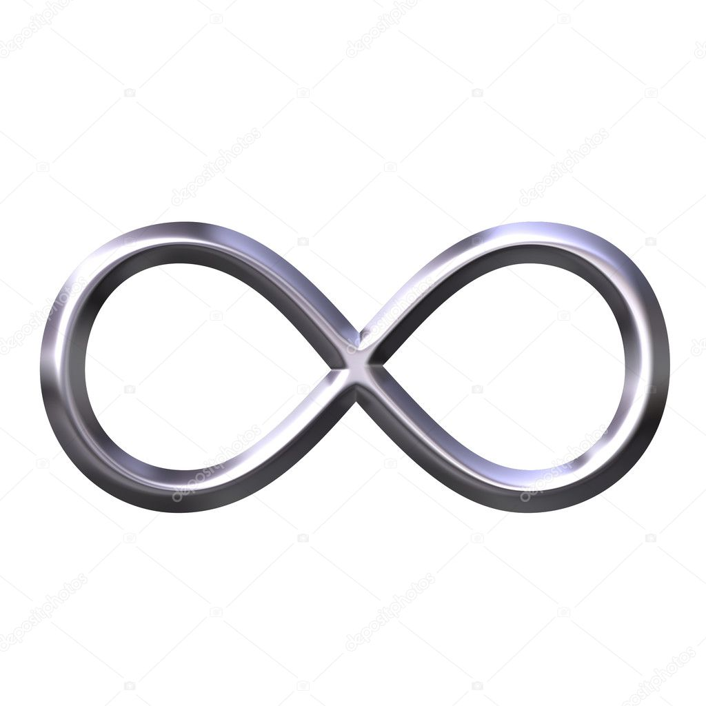 3d silver infinity symbol isolated in white  Stock Photo #1403437