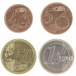 Stock Photo: Uncirculated euro coins set with new map