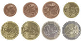 Uncirculated euro coins set with new map — Stock Photo