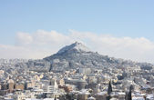 Lycabettus hill during winter blizzard — Stock Photo