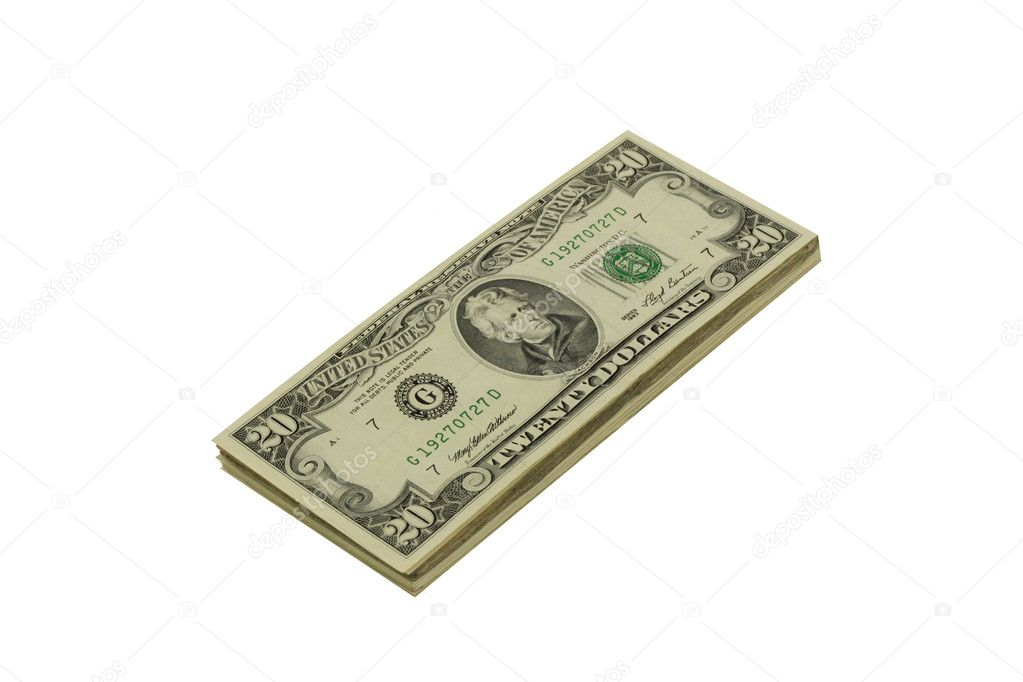 Stack of twenty dollar bills isolated in white — Stock Photo #1426978