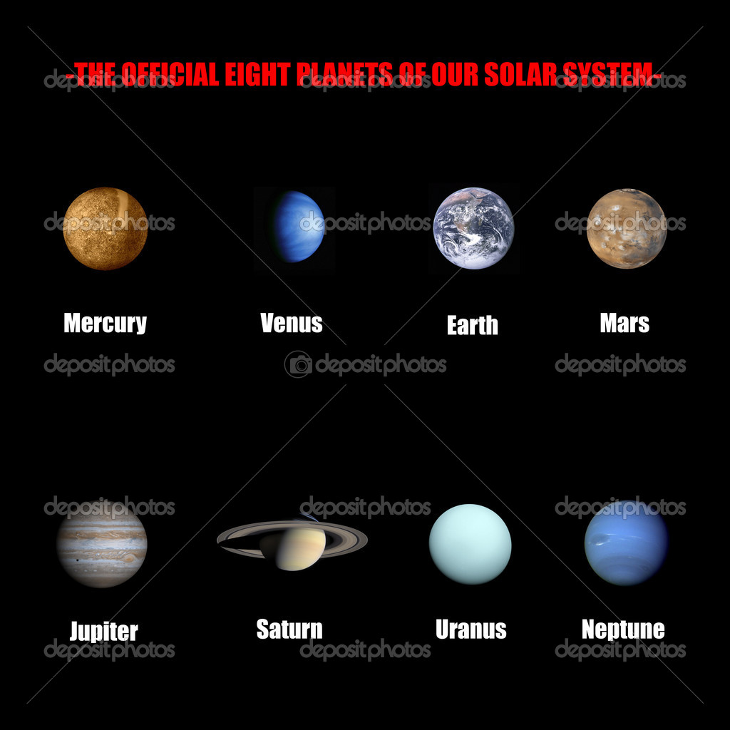 The official eight planets of our solar system isolated in black  Stock Photo #1427084