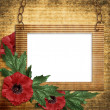 Stock Photo: Vintage framework with poppy