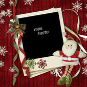 Vintage christmas frame with Santa — Stock Photo