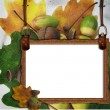 Autumn framework with acorns - Stock Photo