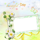 Rainbow background with stamp-frames — Stock Photo