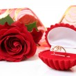 Gold ring and rose - Stock Photo