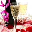 Royalty-Free Stock Photo: Champagne and petals of roses
