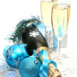 Champagne and blue tape — Foto Stock #1293158