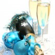 图库照片: Champagne and blue tape