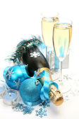 Champagne and blue tape — Stock Photo
