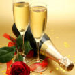 Stock Photo: Champagne and rose