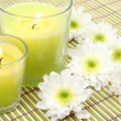 Candles and flowers — Stock Photo