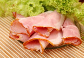 Ham and greens — Stock Photo