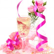 Foto de Stock  : Champagne and roses