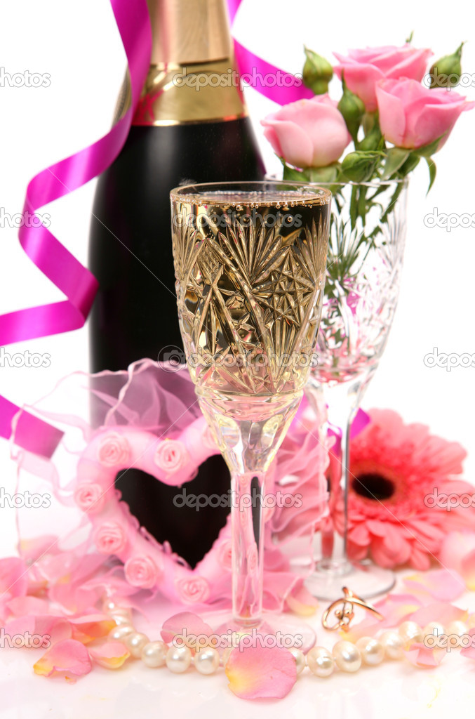 Champagne and roses — Stock Photo #1316728