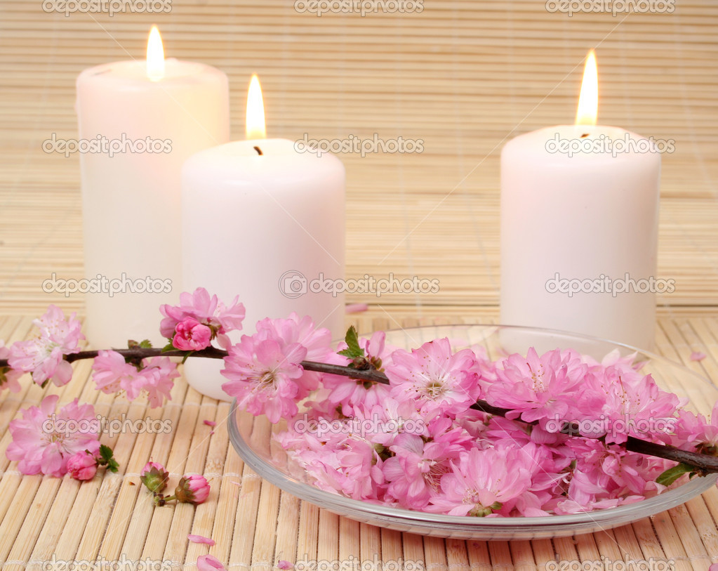 Romantic candles and roses headers