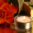 Rose and candle — Stockfoto