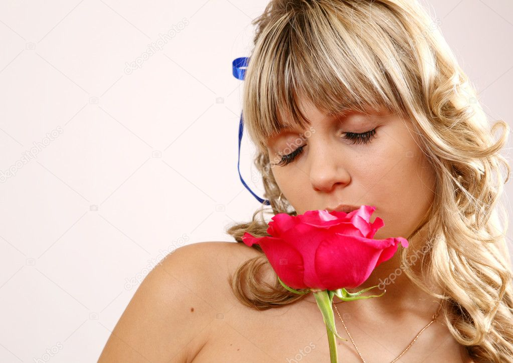 The girl and a rose — Stock Photo #1327956