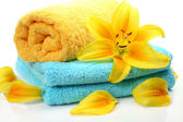 Towel and flower — Stok fotoğraf