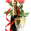Pink roses and champagne — Stock Photo #1378636