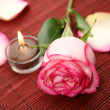 Candle and rose — Stock Photo