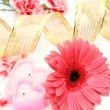Stockfoto: Pink flower and candle