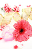 Pink flower and candle — Stock Photo