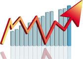 Arrow graph Red — Stock Vector