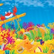 Coral reef and Red Crab - Stock Photo