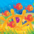 Shoal of colorful fishes and steering wh - Stock Photo