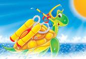 Turtle diver — Stock Photo
