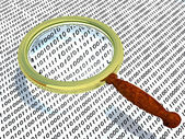 Explanation of code using the magnifying glass — Stock Photo