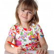 Stock Photo: Happy little girl drawing a picture