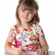 Happy little girl drawing picture — Stock Photo #1224352