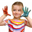 Beautiful girl playing with colors - Stock Photo