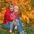 Mum with a daughter in autumn park — Stock Photo #1226056