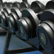 Dumbbells in fitness center - Stock Photo
