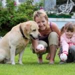 familia juega con un perro — Foto de Stock