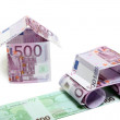 The car and the house made of euro — Stock Photo #1228236