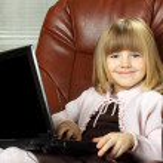 Little business girl — Stock Photo