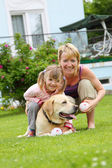 Family plays with a dog — Stock Photo
