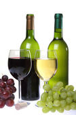 Still-life with wine and bunch of grapes — Stock Photo