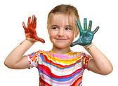 Linda garota brincando com cores — Fotografia Stock